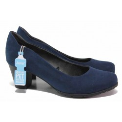 Класически дамски обувки на ток, еко-велур, Н ходило / Jana 8-22467-26H т.син / MES.BG