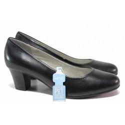 Стилни дамски обувки, естествена кожа, среден ток, гъвкави / Jana 8-22450-26H черен / MES.BG
