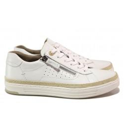 Спортни дамски обувки, естествена кожа, немски / Jana 8-23650-26H бял / MES.BG