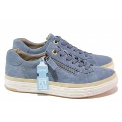 Дамски спортни обувки, естествен велур, цип и връзки / Jana 8-23650-26H син / MES.BG
