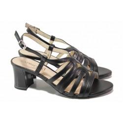 Ефектни немски дамски сандали, естествена кожа, стабилен ток / Caprice 9-28301-26 черен / MES.BG