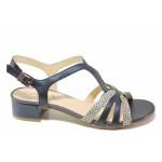 Немски дамски сандали от естествена кожа, стабилен ток / Caprice 9-28201-26 син змия / MES.BG