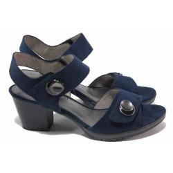 Комфортни немски велурени сандали с велкро лепенки, гъвкаво ходило, за ''H'' крак / Jana 8-28308-26 син / MES.BG