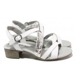 Анатомични дамски сандали, естествена кожа, за ''H'' крак / Jana 8-28256-26 бял змия / MES.BG