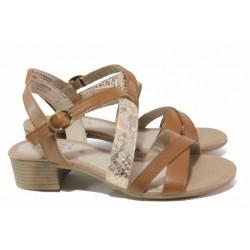 Комфортни немски сандали от естествена кожа, анатомични, за ''H'' крак / Jana 8-28256-26 коняк / MES.BG