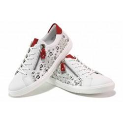 Красиви спортни немски обувки, естествена кожа, гъвкаво ходило / Remonte D1407-80 бял / MES.BG