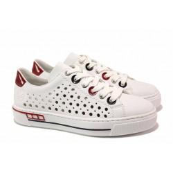 Спортни немски обувки на дупки, шито ANTISTRESS ходило, връзки / Rieker L8895-80 бял / MES.BG