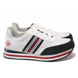 Дамски спортни немски обувки, шито ANTISTRESS ходило, олекотени / Rieker L2327-15 бял / MES.BG