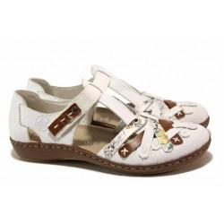 Красиви немски летни обувки тип ''пантофки'' с удобно ANTISTRESS ходило и велкро закопчаване / Rieker 45886-81 бял / MES.BG