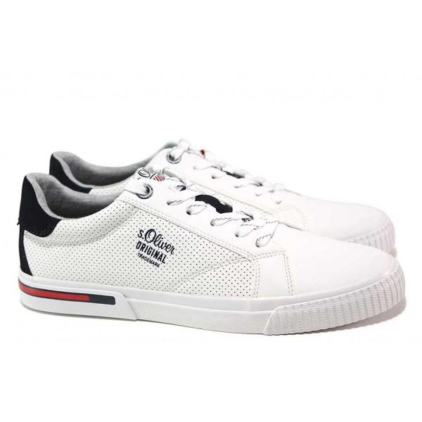 Мъжки спортни обувки, еко-кожа, дишащи, олекотени / S.Oliver 5-13630-26 бял / MES.BG