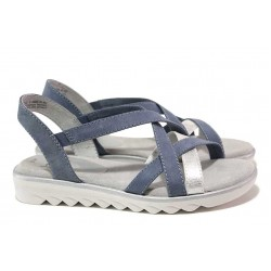 Немски дамски сандали, олекотени и гъвкави, еко-кожа и текстил / Jana 8-28660-26H син / MES.BG