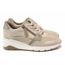 Дамски спортни обувки, естествена кожа, вадеща се стелка RELAX / Jana 8-23702-26 бежов / MES.BG