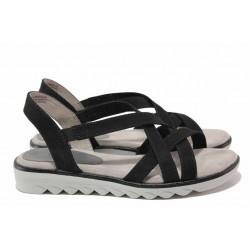 Дамски сандали от текстилен материал, гъвкави, леки, немски / Jana 8-28660-26H черен / MES.BG