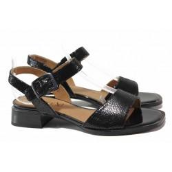 Стилни дамски сандали, естествена кожа с релеф, стабилен ток / Caprice 9-28207-26 черен / MES.BG