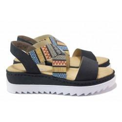 Дамски сандали, еко-кожа, платформа, равни, ANTISTRESS / Rieker V44G8-14 син / MES.BG