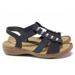 Анатомични немски сандали, дамски, еко-кожа, леки / Rieker 62850-14 син / MES.BG