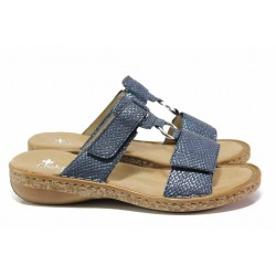Дамски чехли, гъвкави, леки, ANTISTRESS / Rieker 628P9-14 син / MES.BG