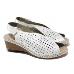 Немски дамски сандали от естествена кожа, платформа, ANTISTRESS ходило, велкро закопчаване / Rieker 66196-80 бял / MES.BG
