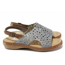 Немски сандали от естествена кожа, шито ANTISTRESS ходило, велкро лепенки / Rieker 65966-12 син / MES.BG