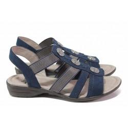 Анатомични немски сандали, велурени, подходящи за широк крак / Jana 8-28165-26 син / MES.BG