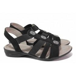 Анатомични велурени сандали с ластици, немски, подходящи за ''H'' крак / Jana 8-28165-26 черен / MES.BG