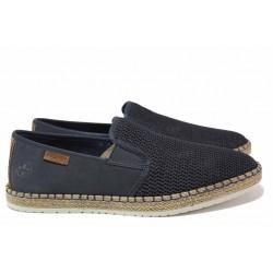 Немски мъжки обувки за лятото с ластик, олекотено ANTISTRESS ходило / Rieker B5265-14 т.син / MES.BG