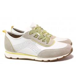 Анатомични немски спортни обувки от естествена кожа, комфортно ''relax'' ходило / Jana 8-23614-26 бял-шафран / MES.BG