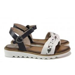 Анатомични немски сандали от естествена кожа, подходящи за широк крак / Jana 8-28602-26 син-бял / MES.BG