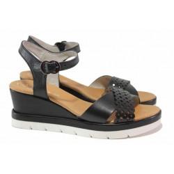 Анатомични немски сандали от естествена кожа, удобна платформа, катарама / Jana 8-28313-26 черен / MES.BG