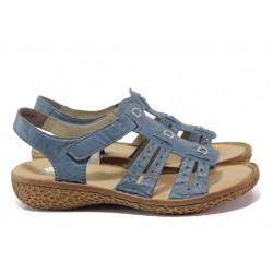 Анатомични немски сандали с ANTISTRESS ходило, естествена кожа, велкро / Rieker V6917-12 син / MES.BG