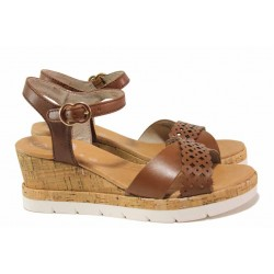 Анатомични немски сандали, естествена кожа, за ''H'' крак / Jana 8-28313-26 кафяв / MES.BG