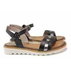 Удобни немски сандали, подходящи за широк крак, естествена кожа / Jana 8-28602-26 черен / MES.BG