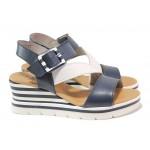Анатомични дамски сандали, естествена кожа, удобна платформа, ластик за разширяване / Jana 8-28310-26 син-бял / MES.BG