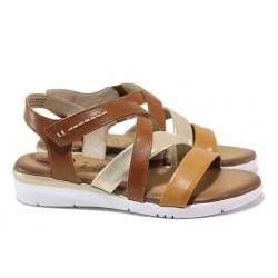 Анатомични немски сандали, естествена кожа, велкро закопчаване, ходило с RELAX система / Jana 8-28205-26 коняк / MES.BG