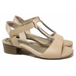 Анатомични дамски сандали с велкро закопчаване, естествена кожа, стабилен ток / Jana 8-28322-26 розов-бежов / MES.BG