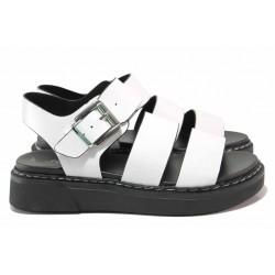 Модерни немски сандали с катарама, шито ходило, анатомични / S.Oliver 5-28202-26 бял / MES.BG