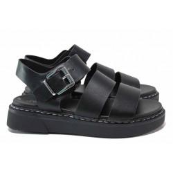 Удобни немски сандали, шито ходило, ластик за висок свод / S.Oliver 5-28202-26 черен / MES.BG