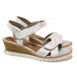 Удобни немски сандали на платформа, естествена кожа, функционални велкро лепенки / Remonte R6252-80 бял / MES.BG