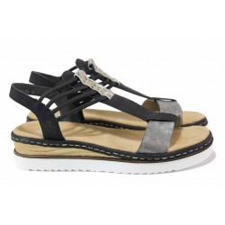 Комфортни дамски сандали с ластици, олекотени, шита подметка с ANTISTRESS система / Rieker 679L1-90 черен / MES.BG
