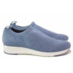 Атрактивни дамски спортни обувки, текстилни, декоративни камъчета, ластик, олекотени / Caprice 9-24700-26 син / MES.BG