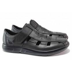 Мъжки летни обувки, естествена кожа, ANTISTRESS ходило, велкро / Rieker B2783-00 черен / MES.BG