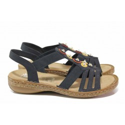 Удобни дамски сандали, еко-кожа, гъвкави, леки, ANTISTRESS / Rieker 628L1-14 т.син / MES.BG