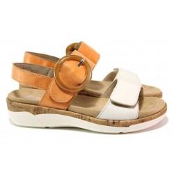 Дамски сандали, естествена кожа, анатомични, велкро / Remonte R6853-38 оранж / MES.BG