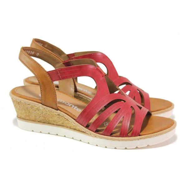 Дамски сандали на платформа, еко-кожа, олекотени / Remonte R6255-34 червен / MES.BG