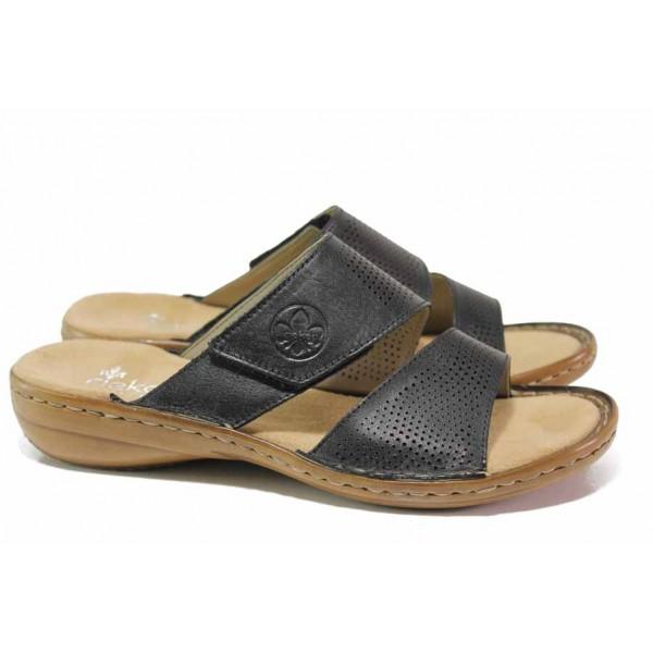Дамски чехли от естествена кожа, ANTISTRESS ходило, велкро, гъвкави / Rieker 60812-00 черен / MES.BG