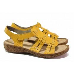Гъвкави дамски сандали, естествена кожа, ANTISTRESS, велкро закопчаване / Rieker V6917-68 жълт / MES.BG