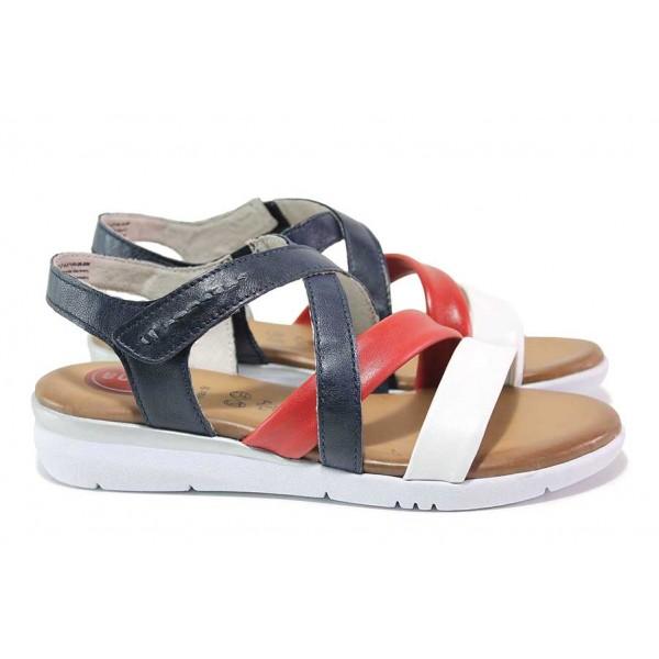 Равни дамски сандали, естествена кожа, RELAX, гъвкави, леки / Jana 8-28205-26 син томи / MES.BG