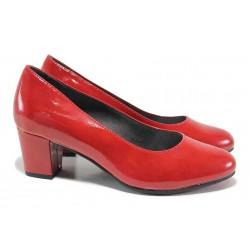 Класически дамски обувки на ток, еко кожа-лак, Soft flex система / Jana 8-22469-25 червен / MES.BG