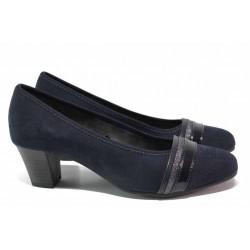 Стилни дамски обувки на среден ток, еко-велур, за широко стъпало, немски / Jana 8-22460-25 т.син / MES.BG