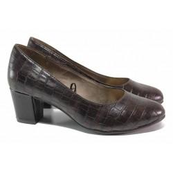 Дамски обувки на среден ток, еко-кожа с кроко мотив, анатомични / Jana 8-22469-25 коняк кроко / MES.BG